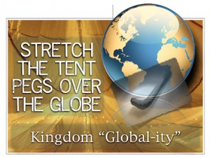STRETCH THE TENT PEGS OVER THE GLOBE