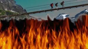 foot bridge over fire image